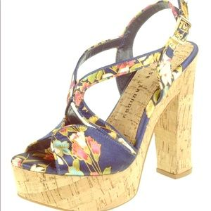 Brand New Navy Party Time Platform Sandals